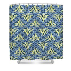 Ferns On Diamonds Yellow Indigo Shower Curtain