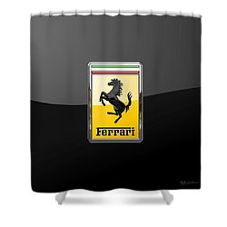 Ferrari - 3 D Badge On Black Shower Curtain by Serge Averbukh