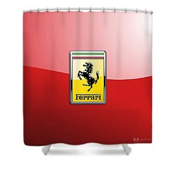 Ferrari 3d Badge-hood Ornament On Red Shower Curtain by Serge Averbukh