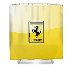 Ferrari 3d Badge- Hood Ornament On Yellow Shower Curtain by Serge Averbukh