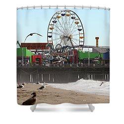 Ferris Wheel At Santa Monica Pier Shower Curtain
