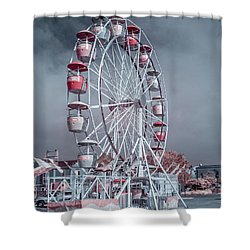 Ferris Wheel In Morning Shower Curtain by Greg Nyquist