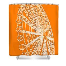 Ferris Wheel Silhouette Orange White Shower Curtain by Ramona Johnston