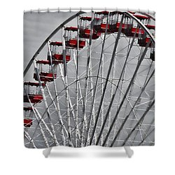 Ferris Wheel With Red Chairs Shower Curtain