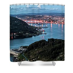 Ferrol's Estuary Panorama From La Bailadora Galicia Spain Shower Curtain