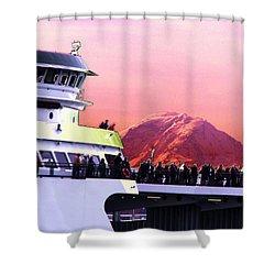 Ferry And Da Mountain Shower Curtain by Tim Allen
