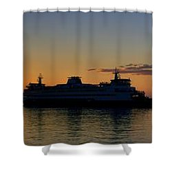 Ferry Boat Arrives To Mukilteo Ferry Terminal Shower Curtain