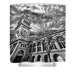 Ferry Building Black  White Shower Curtain