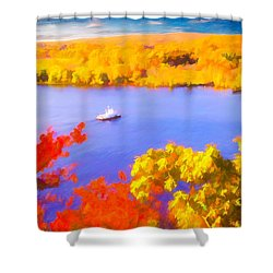 Ferry Crossing Connecticut River. Shower Curtain