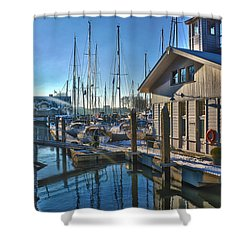 Ferry Harbour In Winter Shower Curtain