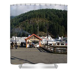 Ferry Landed At Horseshoe Bay Shower Curtain by Rod Jellison
