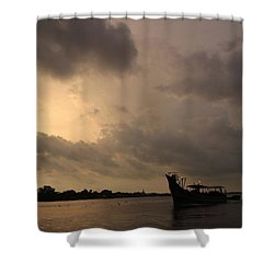 Ferry On The Way To Fort Kochi Shower Curtain by Jennifer Mazzucco