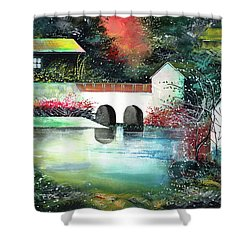Shower Curtain featuring the painting Festival Of Lights by Anil Nene