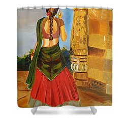 Festival Times, India, Contemporary Art  Shower Curtain by Geeta Biswas
