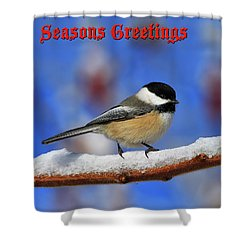 Shower Curtain featuring the photograph Festive Chickadee by Tony Beck