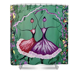 Festive Dancers Shower Curtain by Teresa Wing