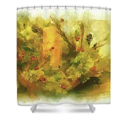 Shower Curtain featuring the photograph Festive Holiday Candle by Lois Bryan