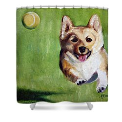 Fetch Shower Curtain by Mary Sparrow