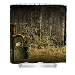 Fetching Water From The Old Pump Shower Curtain by Randall Nyhof
