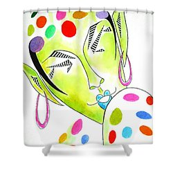 Fey -- The Original -- Fantasy Elf Portrait With Polka Dots Shower Curtain