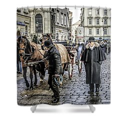 Shower Curtain featuring the photograph Fiakers At Stephansplatz, Vienna by Brian Tarr