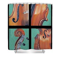 Fiddle Quartet Shower Curtain by Emily Page