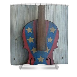 Shower Curtain featuring the mixed media Fiddle Rebel Flag by Steve  Hester