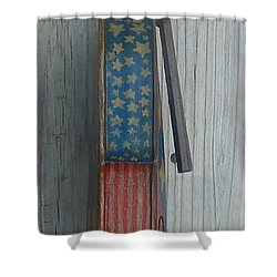 Shower Curtain featuring the mixed media Fiddle Side View by Steve  Hester