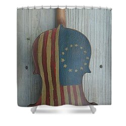 Fiddle Thirteen Star Flag Shower Curtain
