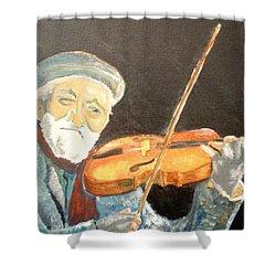 Fiddler Blue Shower Curtain by J Bauer