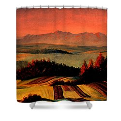 Field And Mountain Shower Curtain