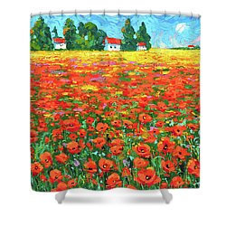Field And Poppies Shower Curtain by Dmitry Spiros