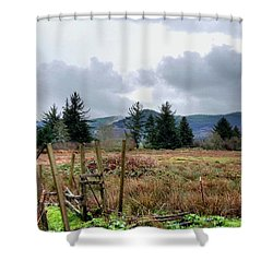 Shower Curtain featuring the photograph Field, Clouds, Distant Foggy Hills by Chriss Pagani
