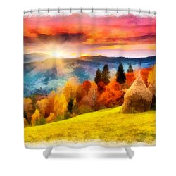 Field Of Autumn Haze Painting Shower Curtain