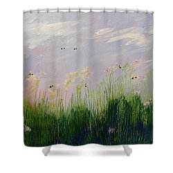 Field Of Bee's Shower Curtain by Sue Furrow