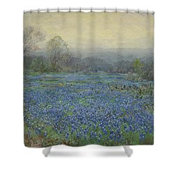 Shower Curtain featuring the painting Field Of Bluebonnets by Julian Onderdonk