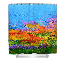 Abstract Field Of Wildflowers, Modern Art Palette Knife Shower Curtain
