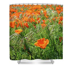 Shower Curtain featuring the mixed media Field Of Orange Poppies- Art By Linda Woods by Linda Woods