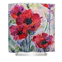 Field Of Red Poppies Watercolor Shower Curtain