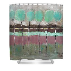 Shower Curtain featuring the painting Going Out by Becky Kim