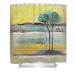 Shower Curtain featuring the painting Standing In Distance by Becky Kim
