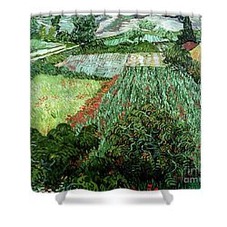 Field With Poppies Shower Curtain by Vincent Van Gogh