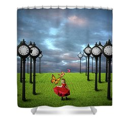 Shower Curtain featuring the digital art Fields Of Time by Nathan Wright