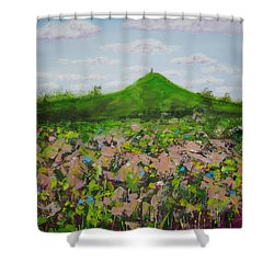 Fields To Glastonbury Tor Shower Curtain