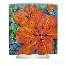 Shower Curtain featuring the painting Fierce Tiger by Judith Rhue
