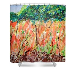 Shower Curtain featuring the painting Fiery Bushes by Esther Newman-Cohen