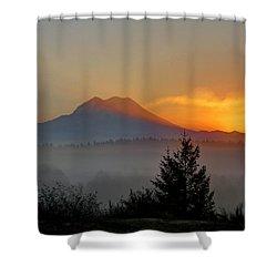 Fiery Fall Sunrise Shower Curtain