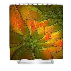 Fiery Glow Shower Curtain by Amanda Moore