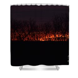 Shower Curtain featuring the photograph Fiery Kansas Sky by Mark McReynolds
