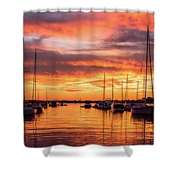Fiery Lake Norman Sunset Shower Curtain